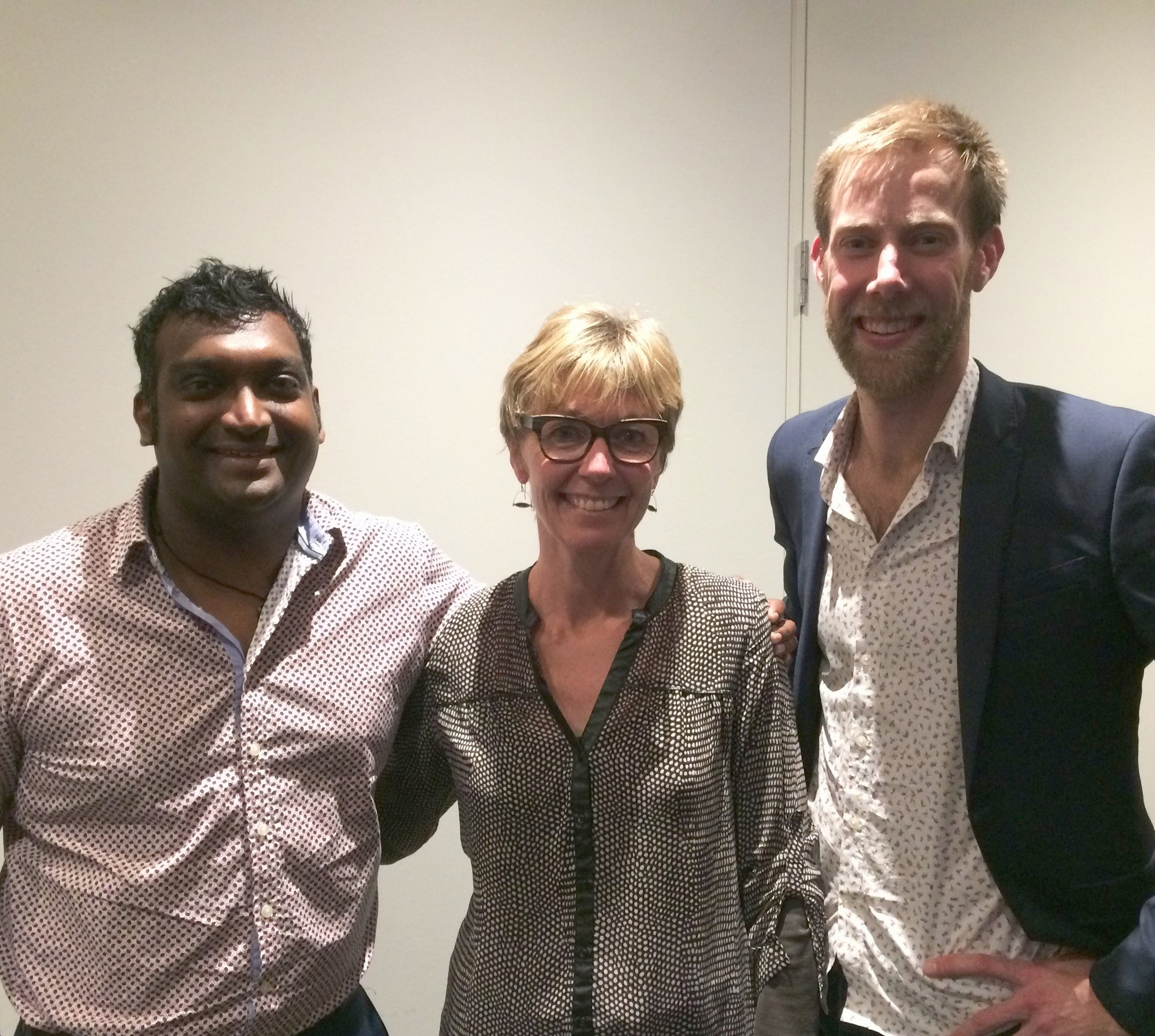 Claire McDonald pictured with OSO Board Optometrists Jagrut Lalu (left) and Alex Petty (right).