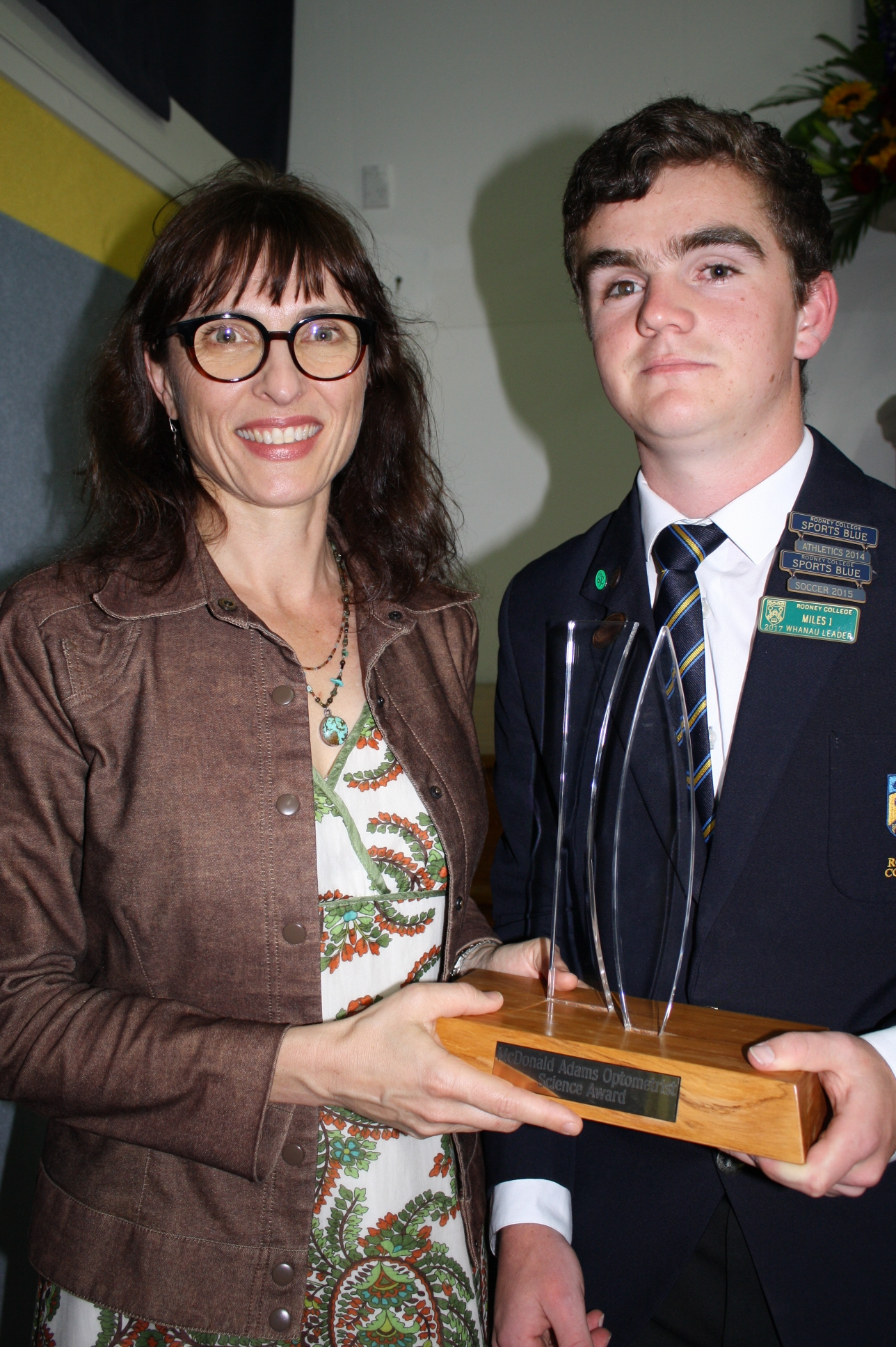 Sally Adams presenting Lachlan Campbell with his Scholarship