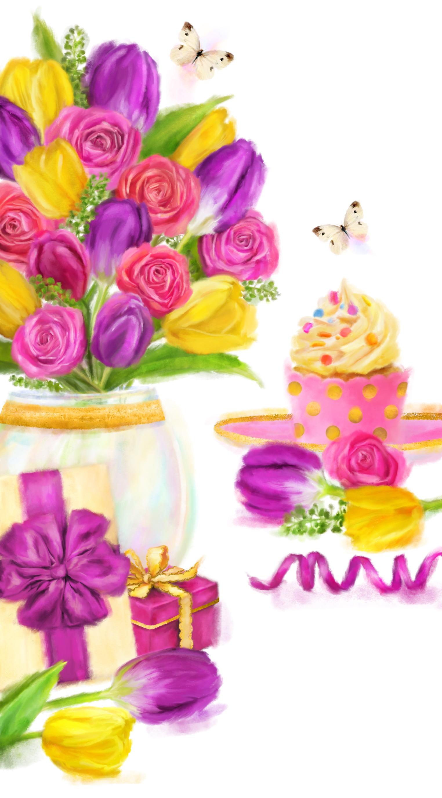 Birthday Tulips card design by Martha Bowyer