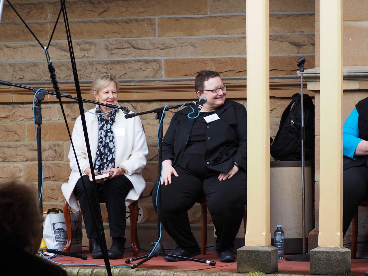 Annabel Morley and Maria Katsonis enjoying their memoir panel. Photo by John Grant.