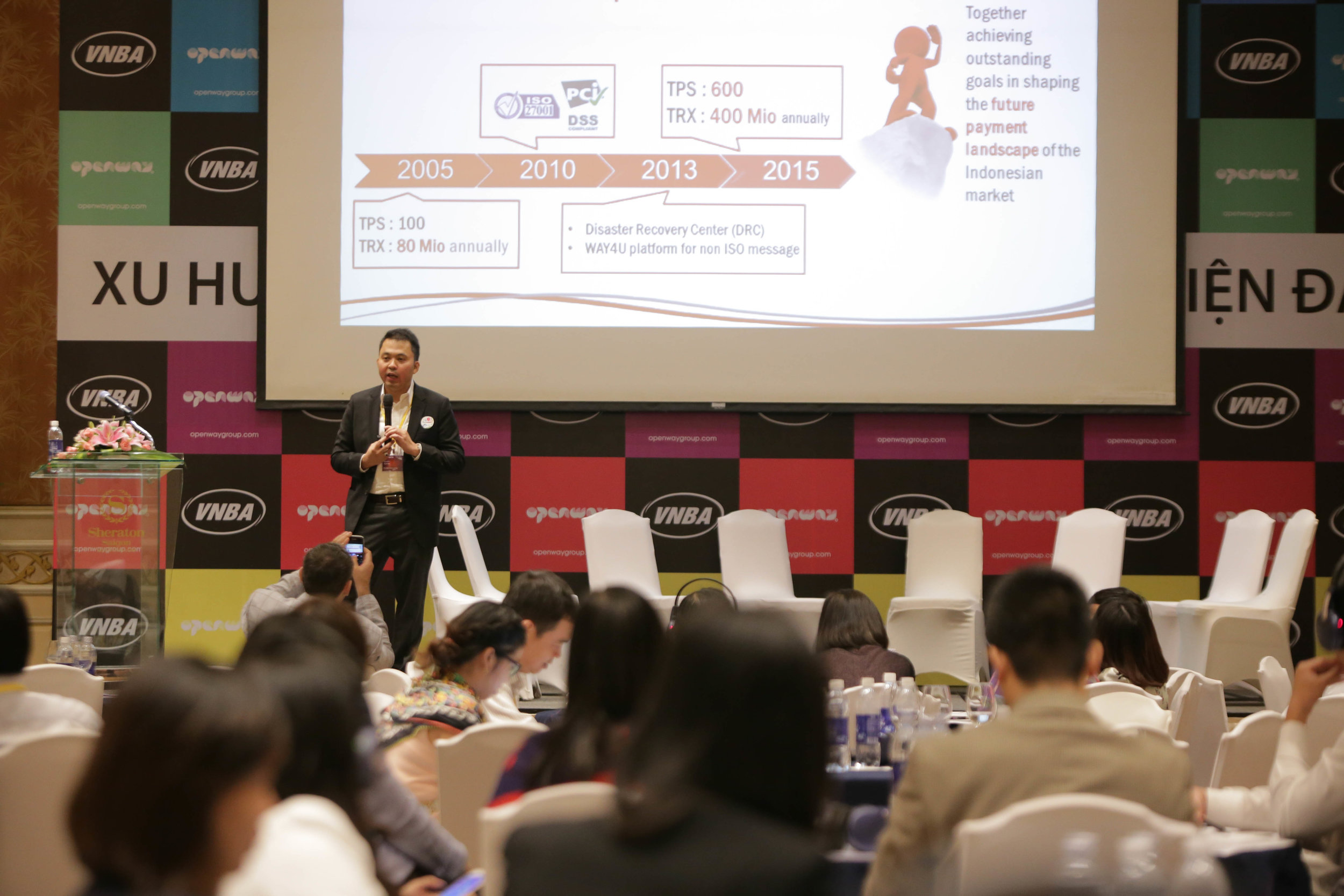 Syaiful Rahim, Finnet's Director of Business & Services speaking about WAY4 Switch at the international conference 'New Trends in Payment Innovations', Vietnam, 2015