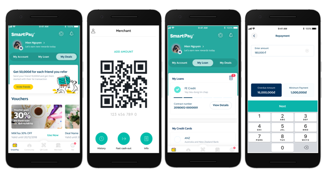 SmartPay's functionality: p2p transfers, QR-code payments, bill payments, loans, personalised offers