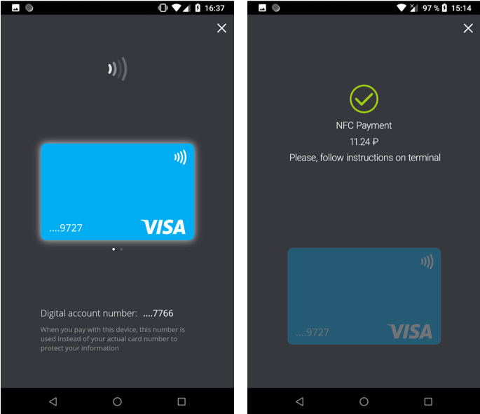 One-tap Visa NFC payments in a WAY4-based mobile app, no other apps needed