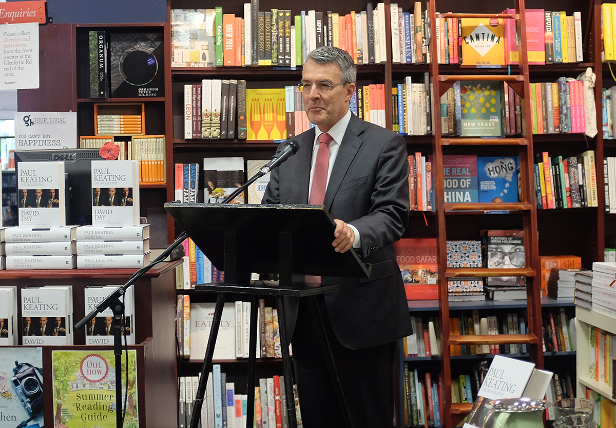 Former Attorney-General Mark Dreyfus launching  David Day's Paul Keating: The Biography  at Hawthorn Readings.