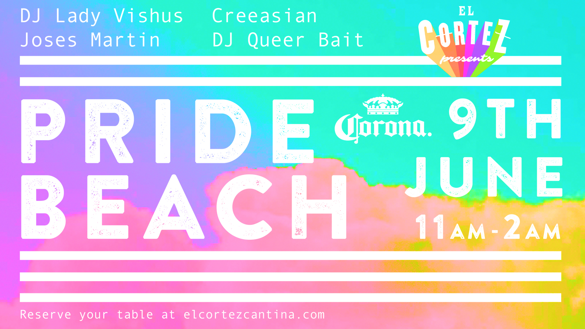 Celebrate Pride with our Pride Beach Party!   DJs will be playing tropical vibes out on the patio and buckets of Corona will be on special! Don't forget your water wings!    Patio DJ Schedule: Lady Vishus 12:30-4:30pm Joses Martin 4:30-9:00pm Creeasian 9pm-12am  DJ Queer Bait will be in the Tequila Cellar 9pm-close!  Buckets of Corona will be on special for $25! (5x330ml)  Reserve your table  HERE . Please note that we do not accept reservations on the patio.