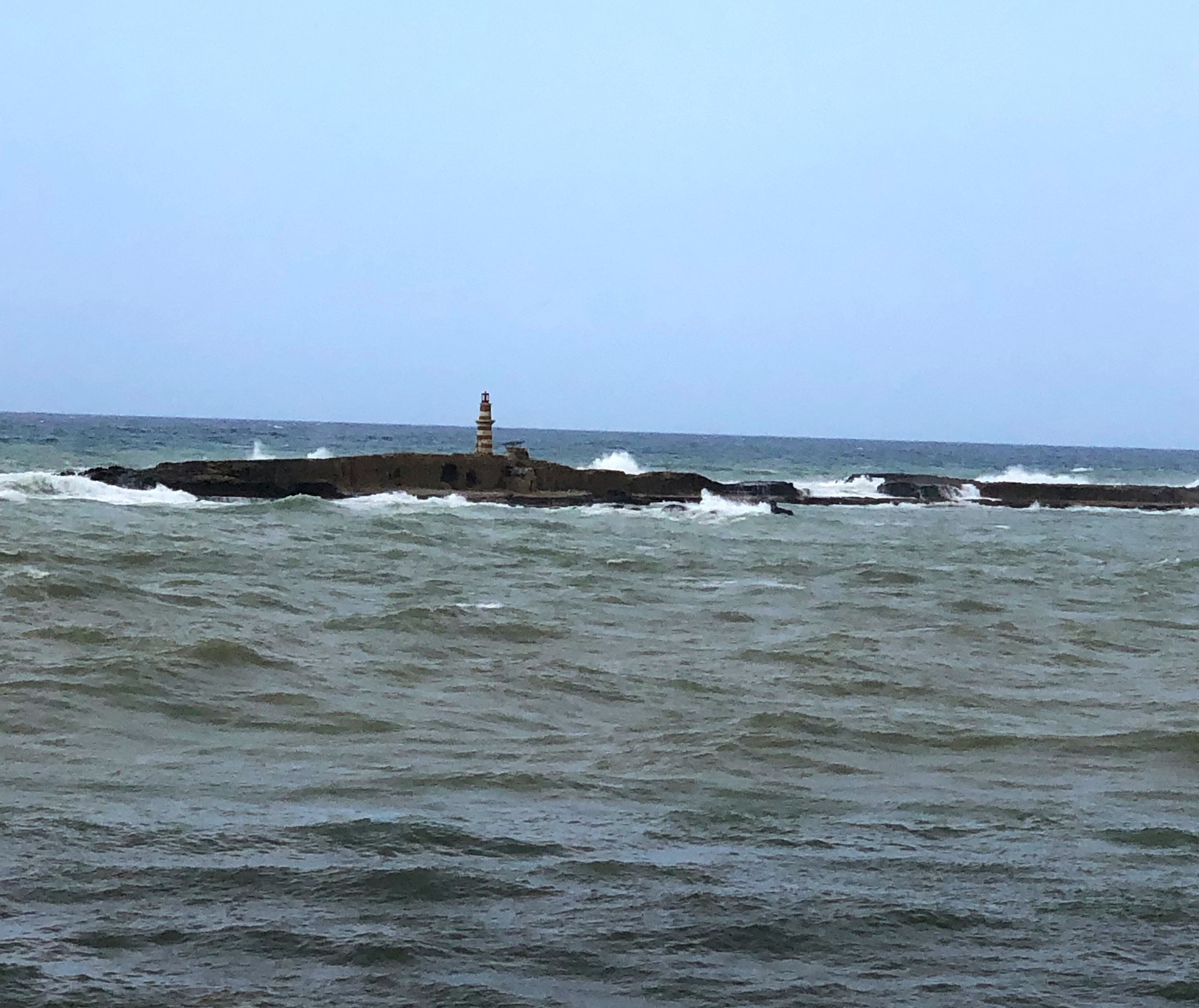 Crusader's Lighthouse on a stormy day, Sidon, Lebanon