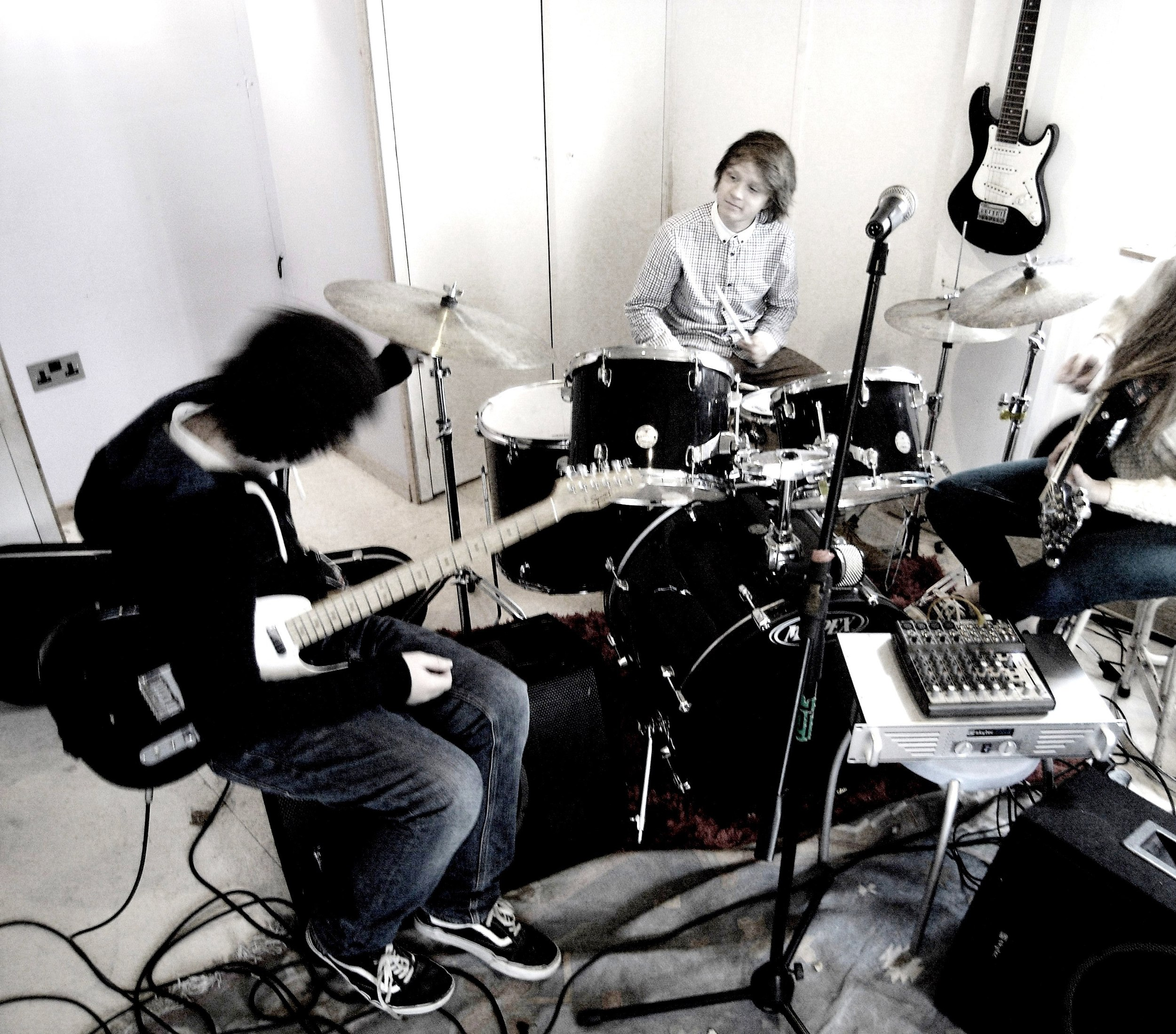 In the new rehearsal room..long ago...before it got wrecked...