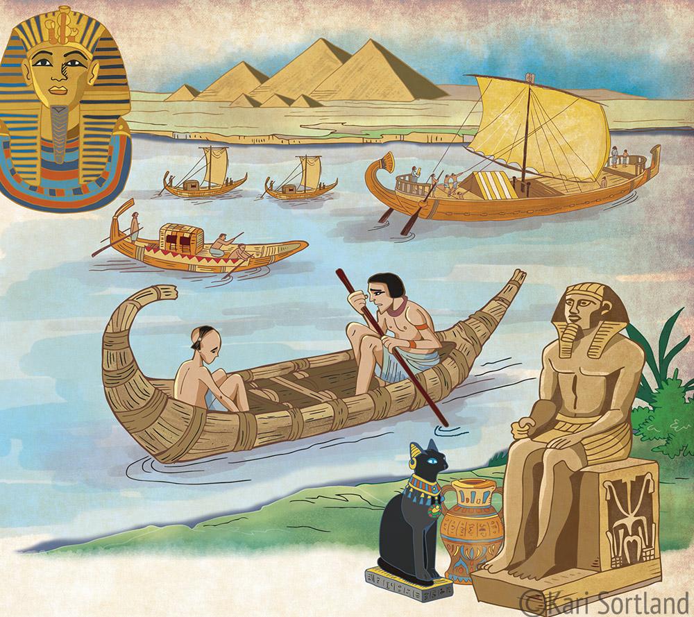 Veien til Osiris, de tidlige elvekulturene, Fagbokforlaget, Kari Sortland illustratør