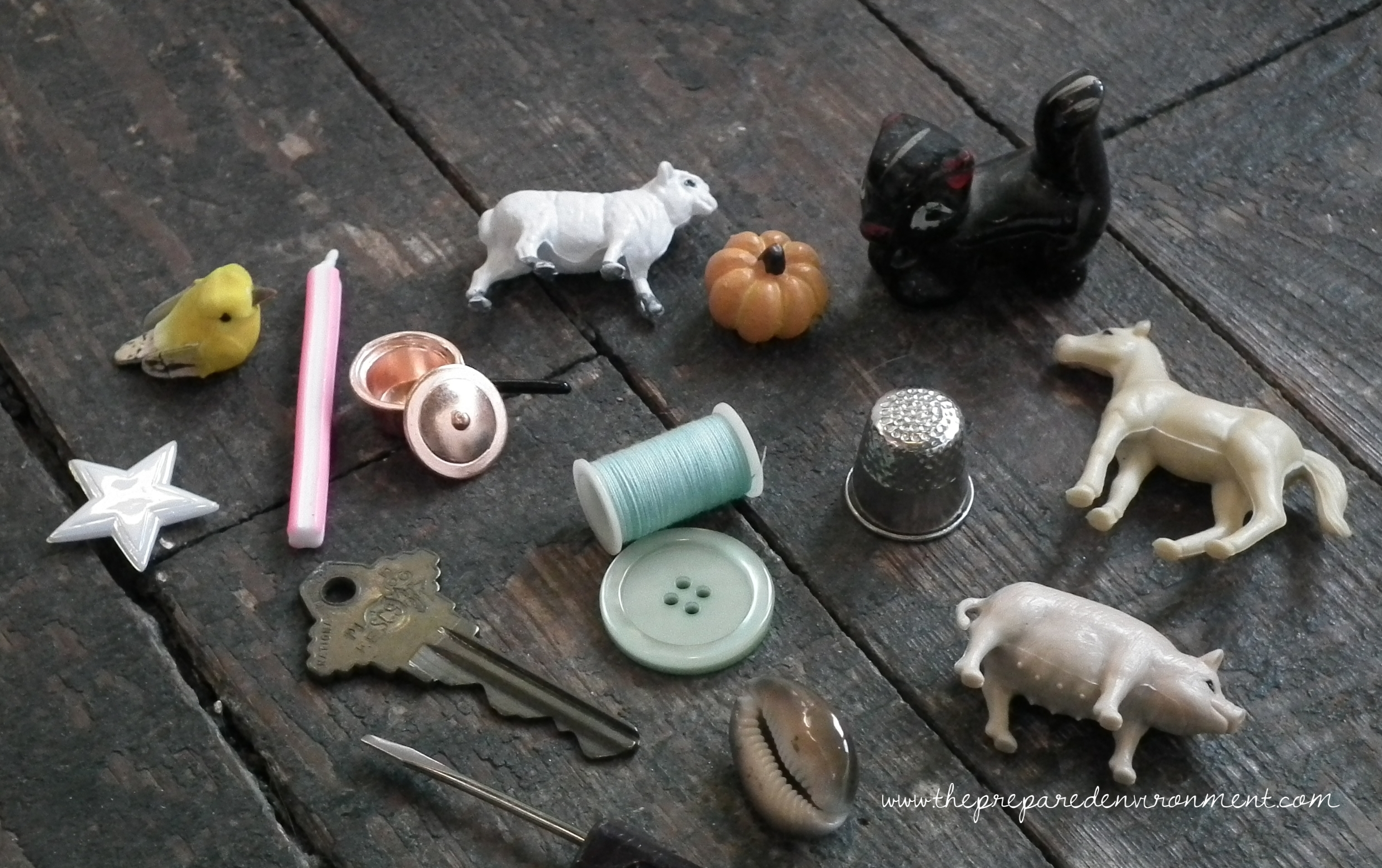 Gather a collection of small objects to play sound games.