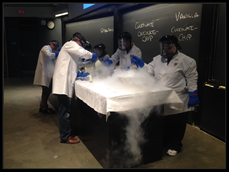 "Chris (second from the right) using liquid nitrogen to make chocolate chip ice cream as a Teaching Fellow for ""General Chemistry"" at Harvard University Extension School."