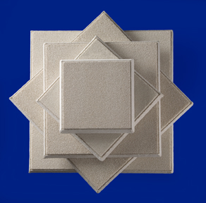 Ceramic foam filters of SELEE® structure are available in sizes from 225mm to 660mm (9 inches to 26 inches) square and a wide range of pore sizes.