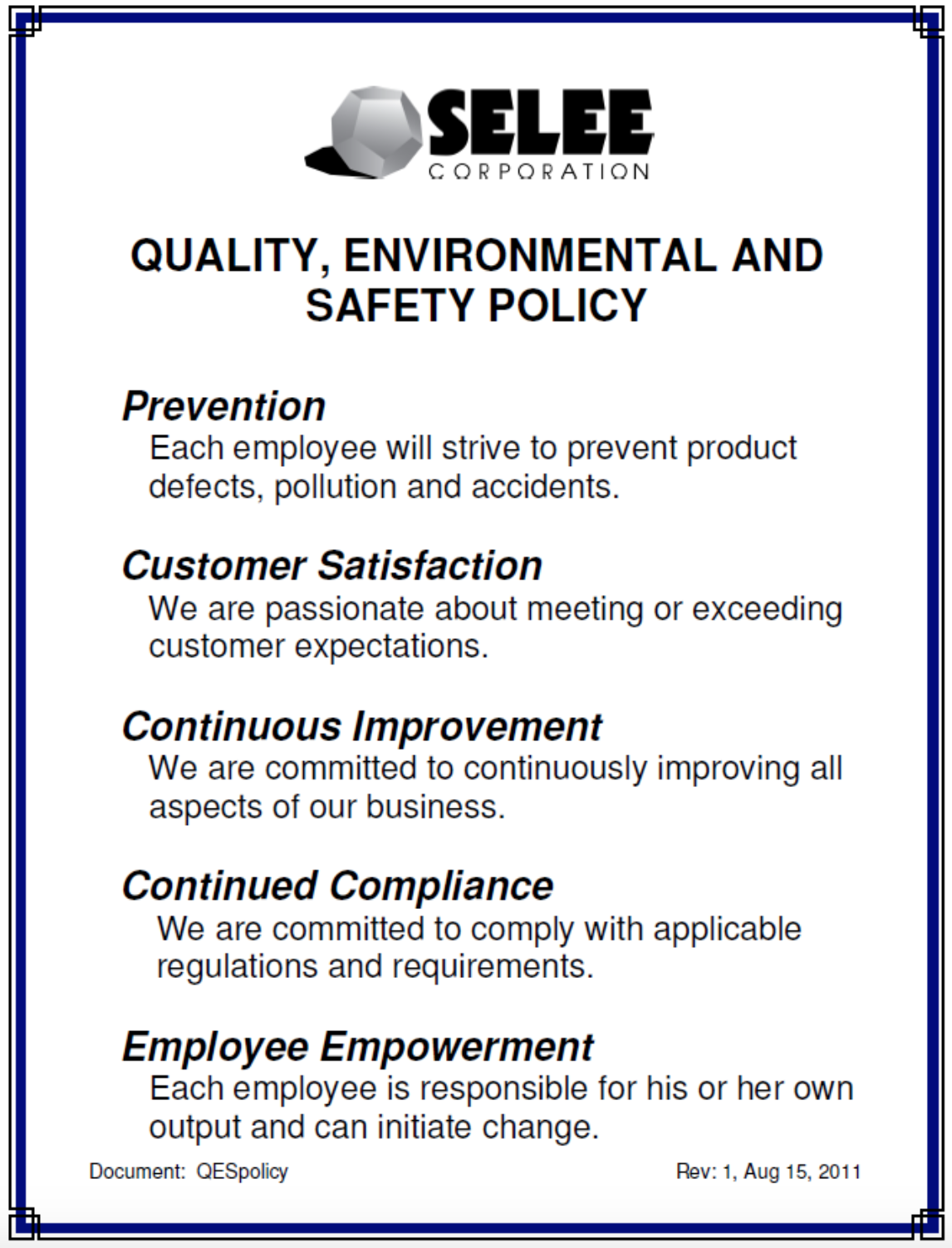 SELEE Quality, Environmental, and Safety Policy