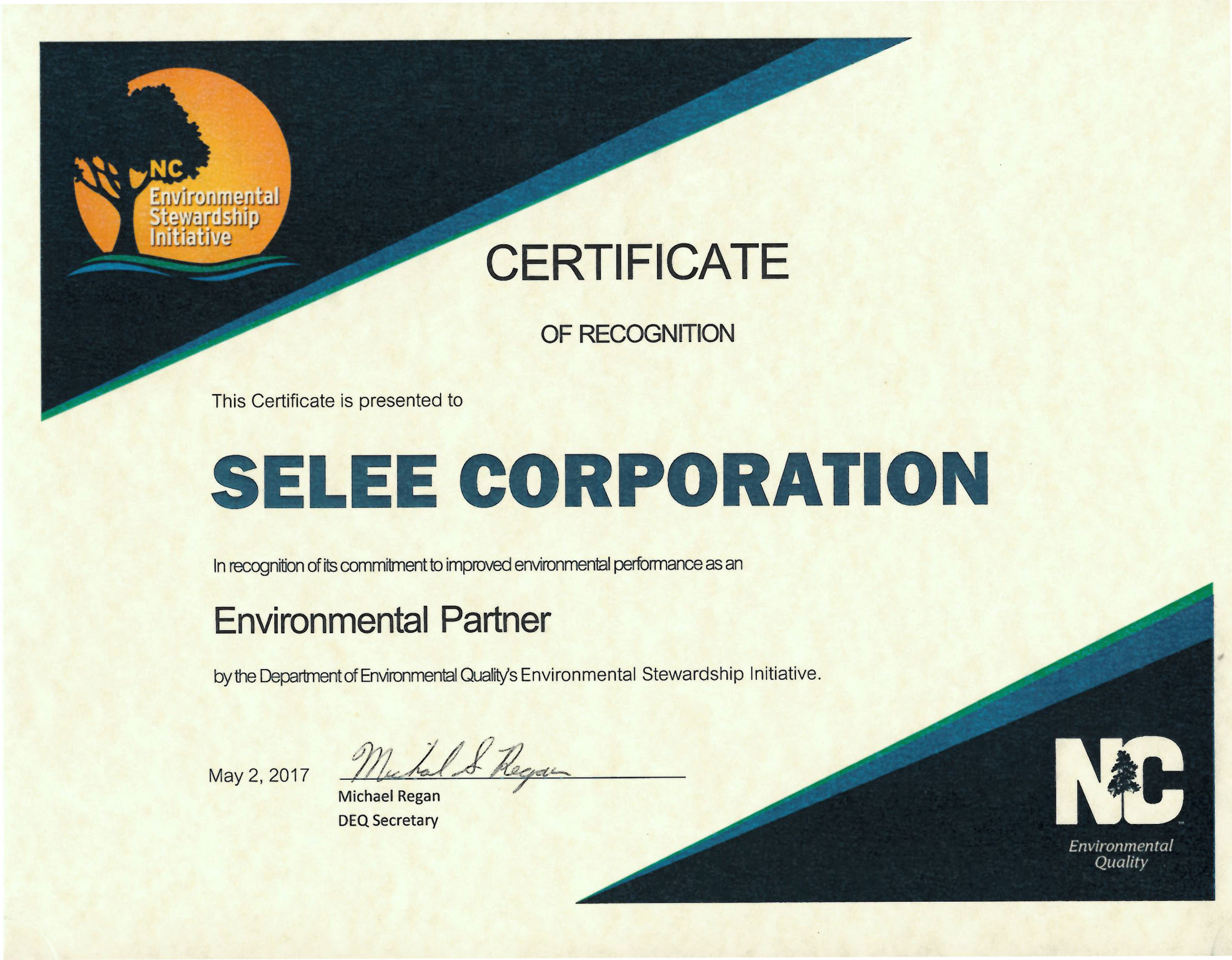 Certificate of Recognition from North Carolina Department of Environmental Quality