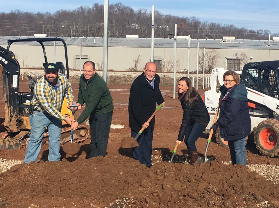 From left, Jon Neff, manager of the Bob's Market Belpre location; Scott Barnitz, co-owner of Bob's Market and Greenhouses; Belpre Mayor Mike Lorentz; Amy Medley, president of the Belpre Area Chamber of Commerce Board of Directors; and Belpre chamber executive director Karen Waller are shown at a groundbreaking Wednesday for the expansion of Bob's Market in Belpre.