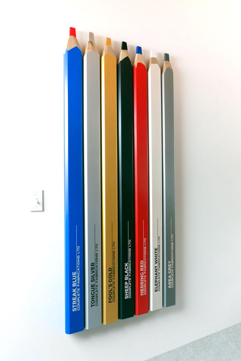 CONCEPTUAL ARTIST'S PENCIL SET  wood, pigment 67 x 32 x 2 inches