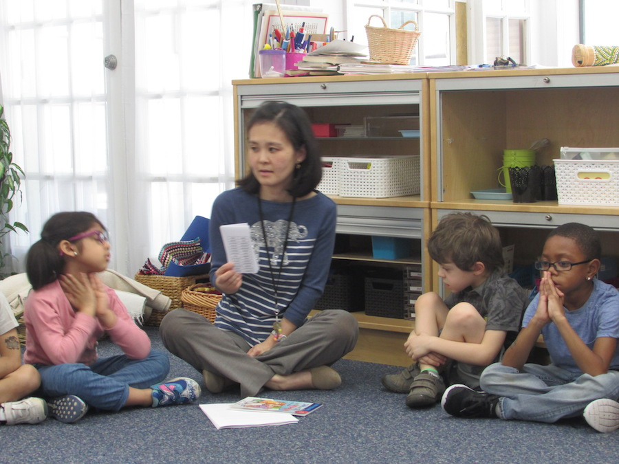 """In their Wednesday Empowered Writers class, the Kindergarten students """"put said to bed"""": The students were challenged to write story dialogue without using the word """"said"""". To start them off, they were given a list of alternative words to choose from and then Ms. Fabiana read a few examples of sentences that used different words instead of """"said""""."""
