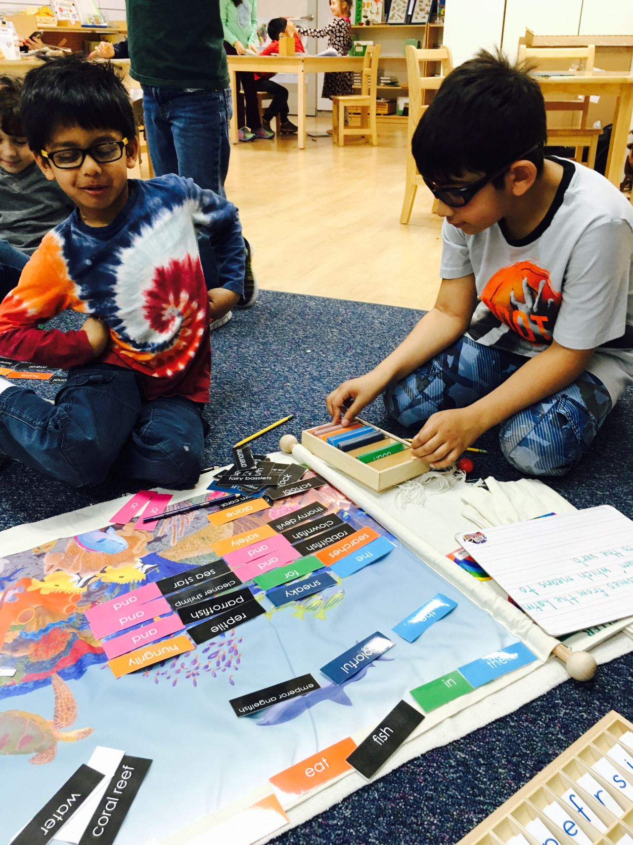 The Biome Mats are one of many examples of the cross curriculum studies in Montessori classrooms.  The Lower Elementary West students use them for grammar, to build sentences and label parts of speech, while they also learn about a particular biome and the animals and plants that live there.