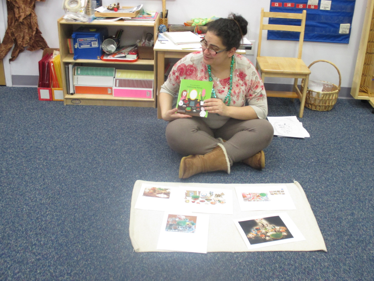 Ms. Nargess celebrated Persian New Year with the Primary 1 class. She read some interesting stories about the celebration and shared some pictures with the children about the food that is set on the table as a feast.