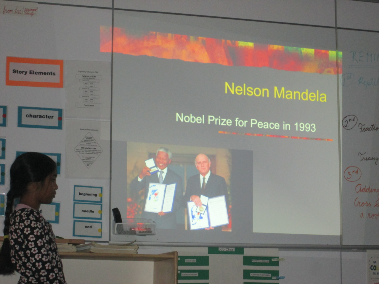 As part of the Lower Elementary East class study of the continent of Africa, a third grade student shared a presentation about Nelson Mandela. Her PowerPoint presentation included the history of Mandela's life and the impact he made on others in South Africa.