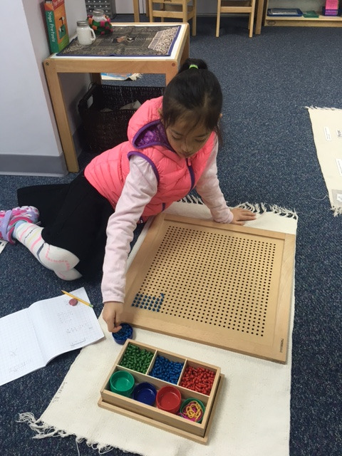 A third grade Lower Elementary West student used the Peg Board to look for Prime Factors.  The Peg Board material offers students a concrete understanding of the concept before they move onto more abstract methods of finding factors.