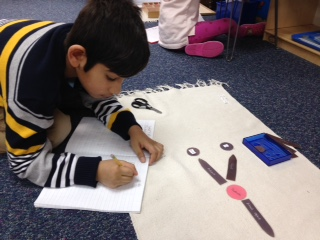 Third grade Lower Elementary West students worked on analyzing sentences with a subject, predicate and direct object. One student chose to diagram the sentences and record them in his Language book.