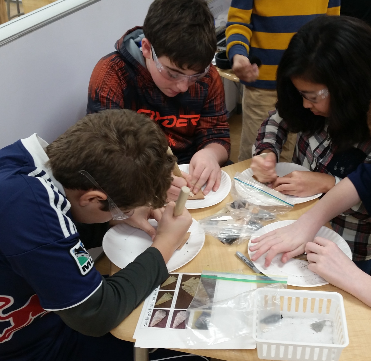 The Middle School students experienced what it was like to be a Native American having to make arrowheads.