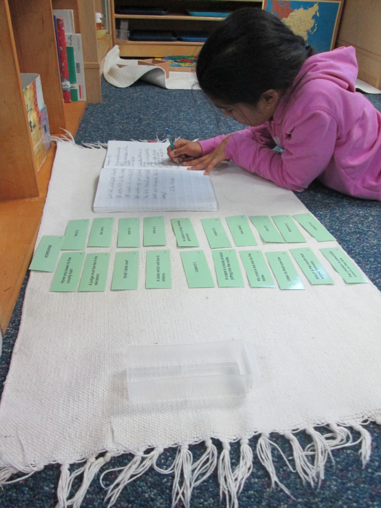 Third grade Lower Elementary East students learned about homonyms. One student composed sentences with the correct usage of each homonym. This work incorporates reading, writing and logical thinking to complete correctly.