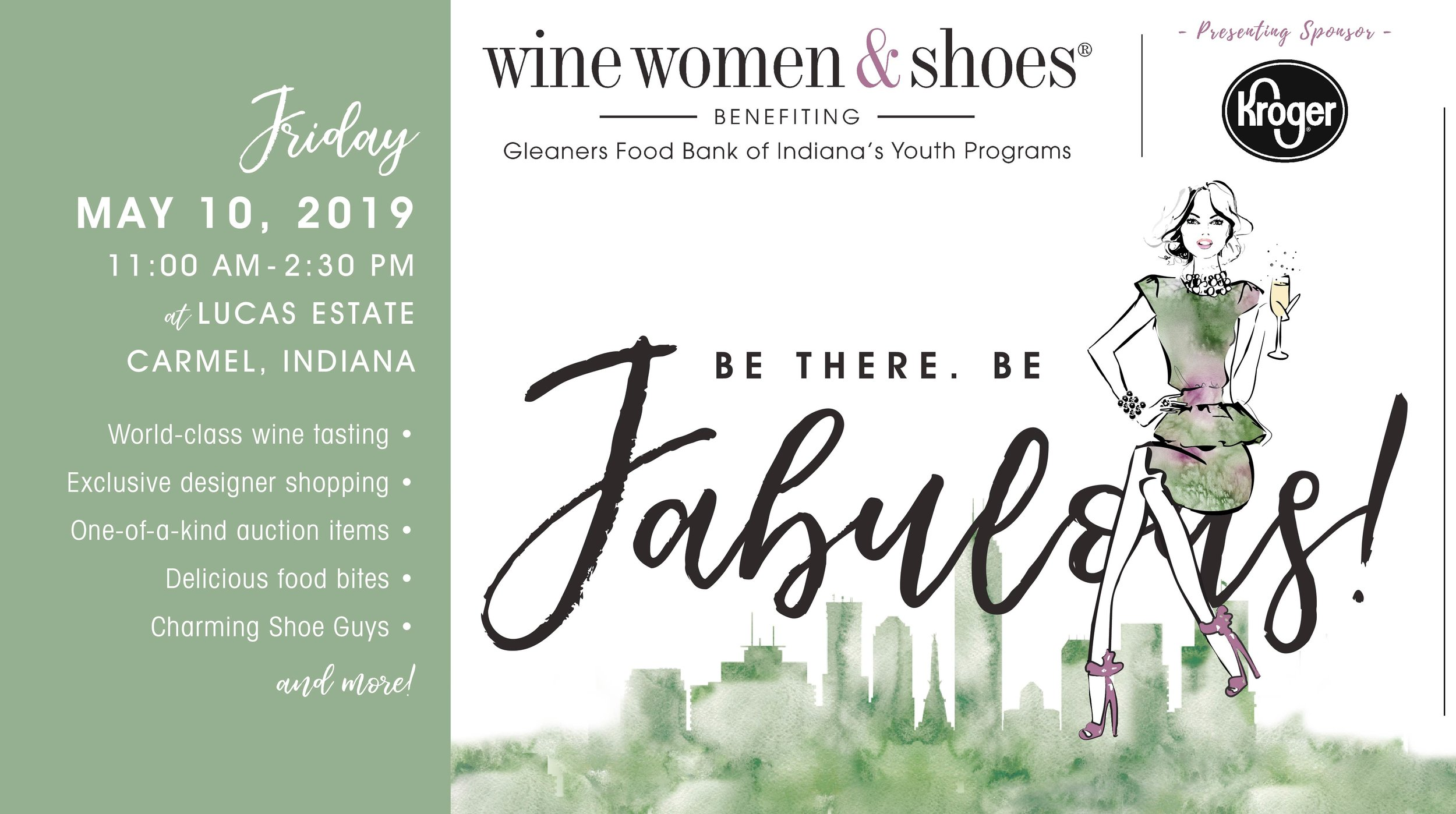 In the last decade, Wine Women & Shoes has exploded across the US producing more than 400 fashion fundraising events. This two-part signature event series creates an enhanced atmosphere of giving where community-minded, philanthropic women (and a few good men) gather to sip, shop, savor, and support a worthy cause in an exciting, chic and innovative way.  Come out and show your support Gleaners Food Bank of Indiana the largest food bank in Indiana. Dedicated to leading the fight against hunger, Gleaners provides food and critical grocery products to over 560 hunger relief agencies in central and southeastern Indiana.