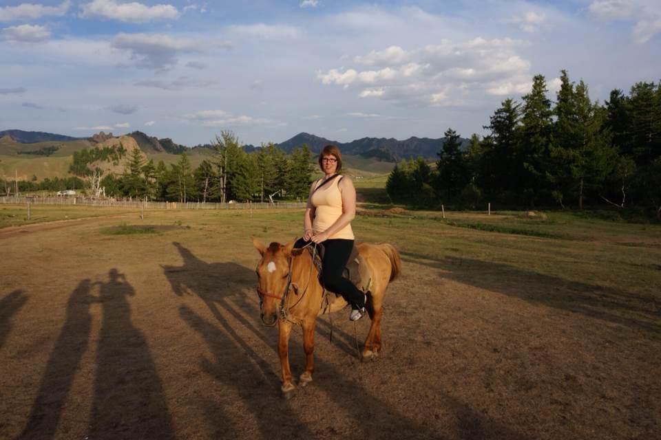 Evening horseback ride! (Should have had the saddle adjusted - I definitely have longer legs than the last rider!)