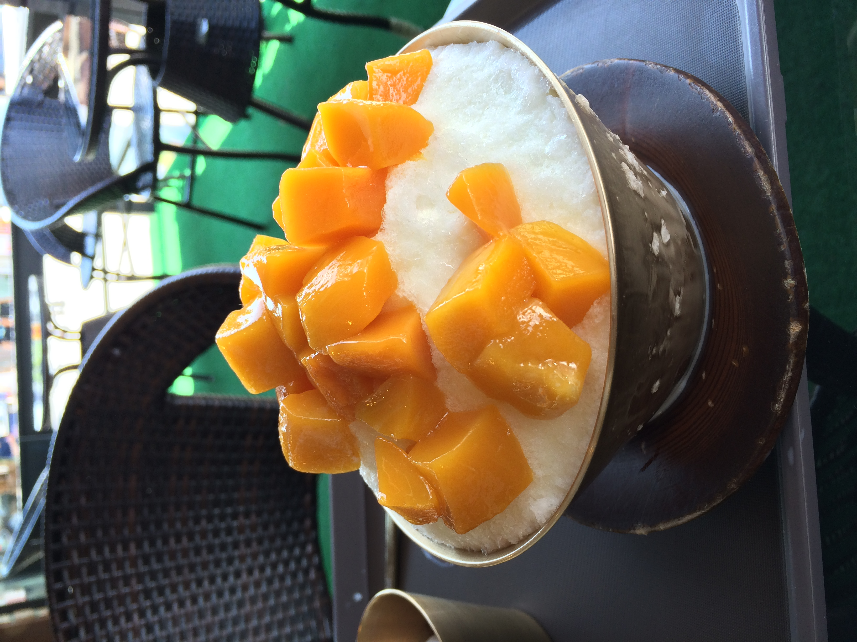 My new favorite dessert - mangos over shaved ice, with red bean paste and condensed milk poured over top. Delicious anytime - especially on 100+ degree days!