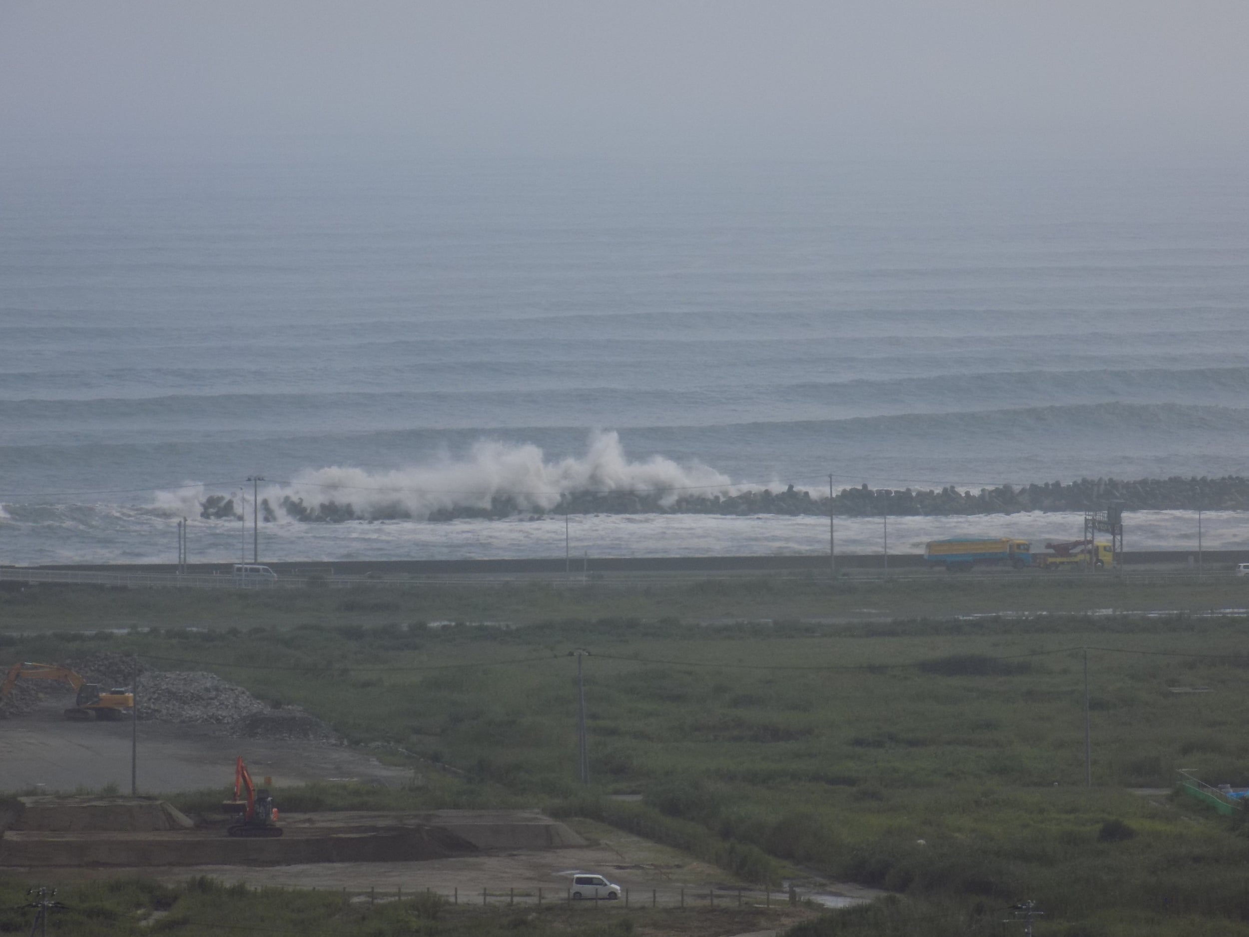 """This is the waterfront at Ishinomaki. Those are the tremendous waves crashing ashore on a """"normal"""" day."""