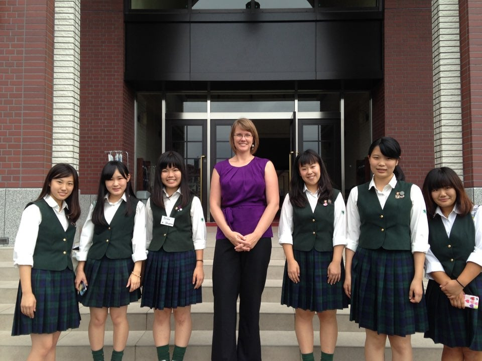 With the high school classroom helpers in Sendai. Such lovely young women! (And yes, I do only have flat shoes on!)