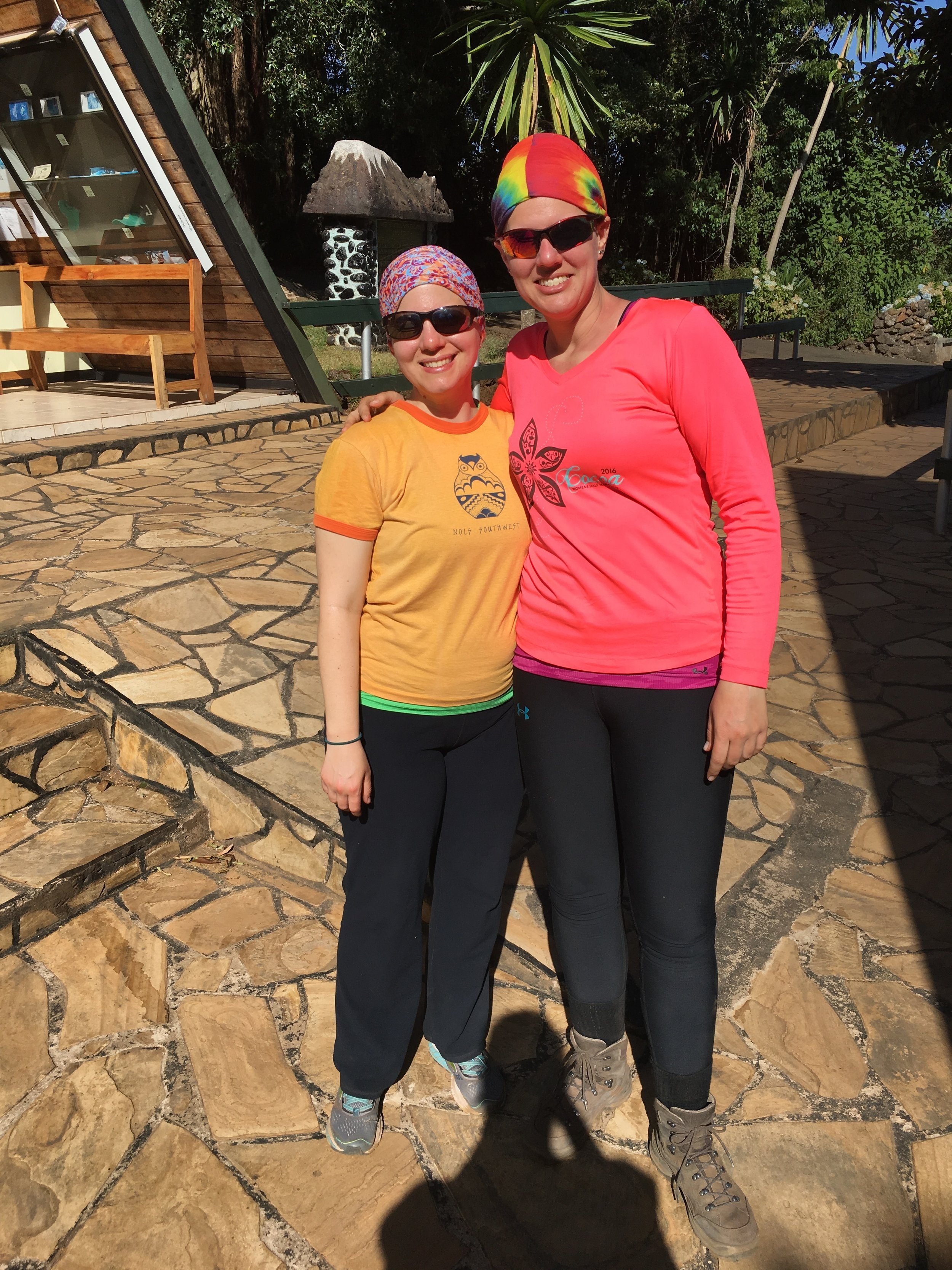 With my dear friend Emily at the Kilimanjaro Park exit gate ... on my birthday. We made it, despite our toenails protesting otherwise.