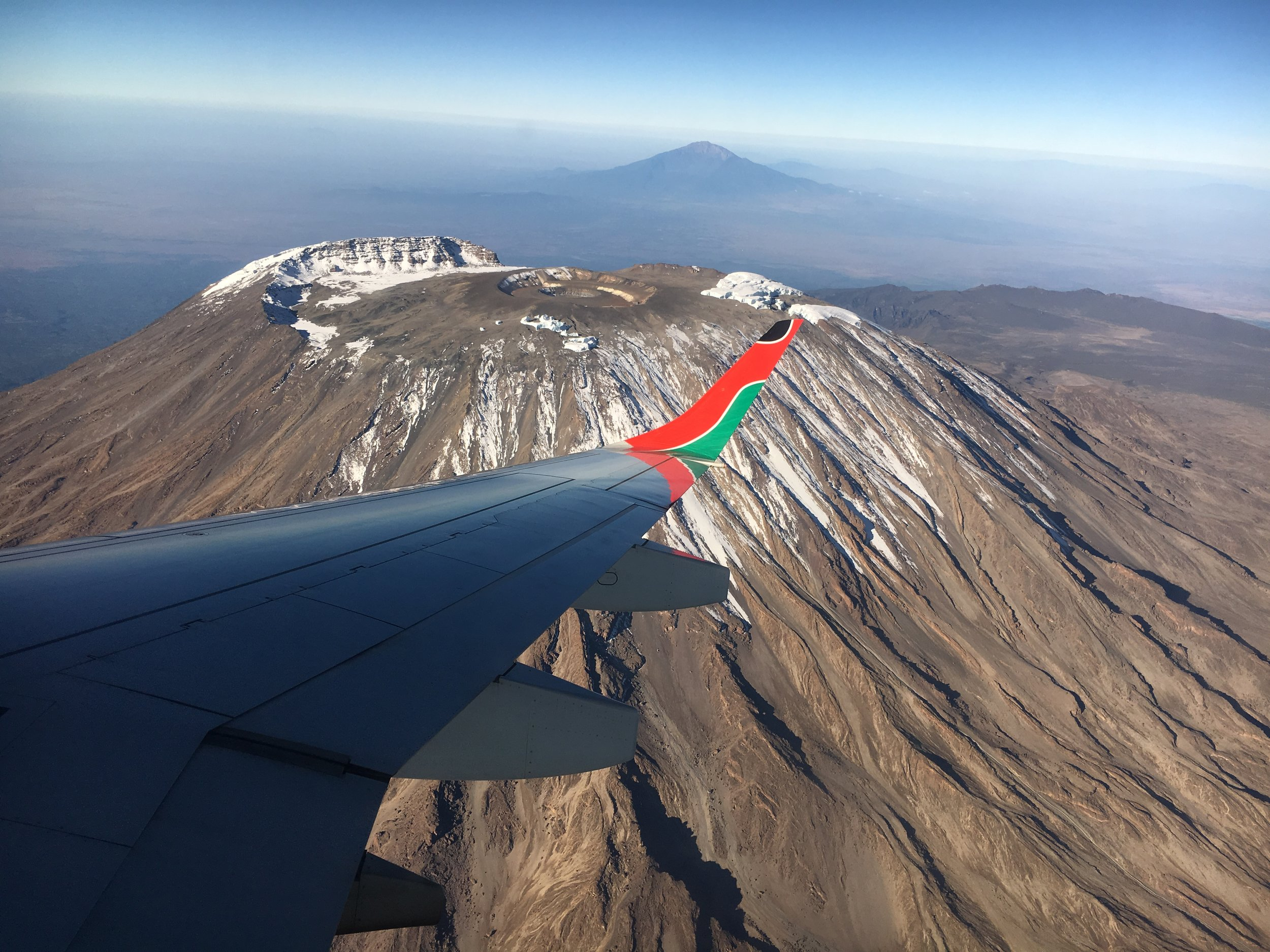 Flying in, seeing the Kili summit and reality of the challenge was setting in (Pic courtesy of hiking pal Jane)