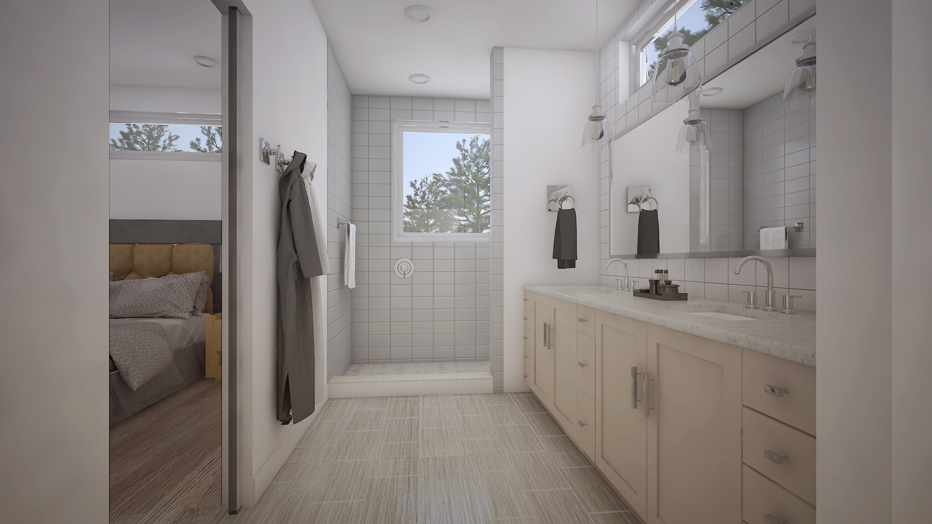 Neutral tones in this en suite master bathroom will keep you calm before the day gets crazy.