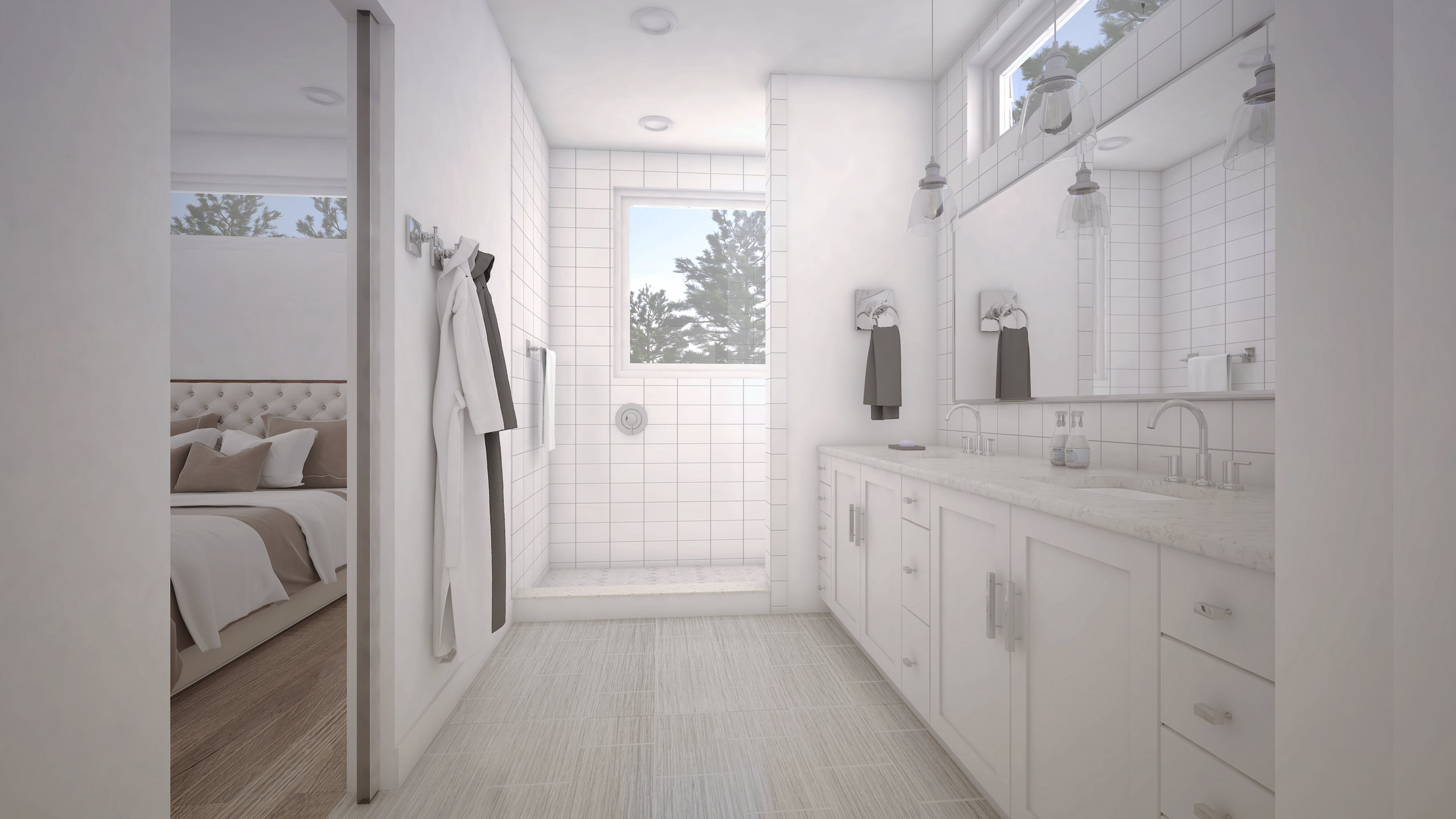 This white en suite master bathroom is a blank canvas. Go nuts or stay neutral, the choice is yours.