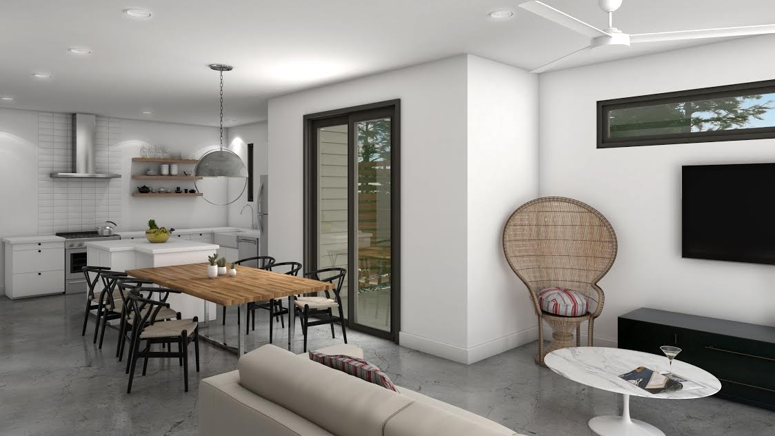 Polished concrete floors and wood cabinetry blend modern flare with timeless materials.This open-concept first floor spills onto a large covered patio, making it a great space for hosting and hanging.