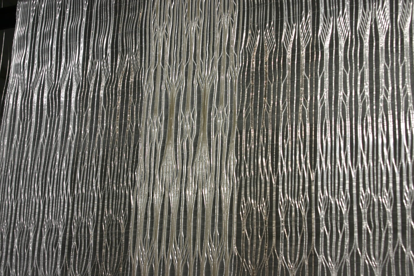 X-Ray Vault Series I; detail 2014 nylon monofilament, rayon and iridescent threads 155 x 68cm  POA