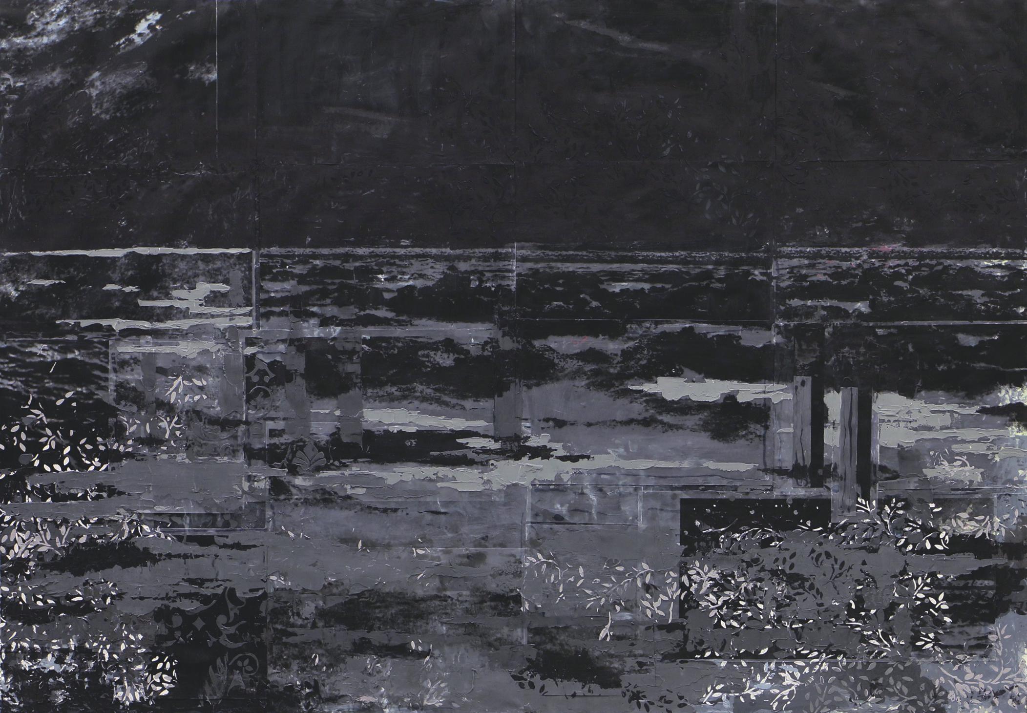 "Pillar City 1  Acrylic, acetate, inkjet print on canvas, 66""x46"""