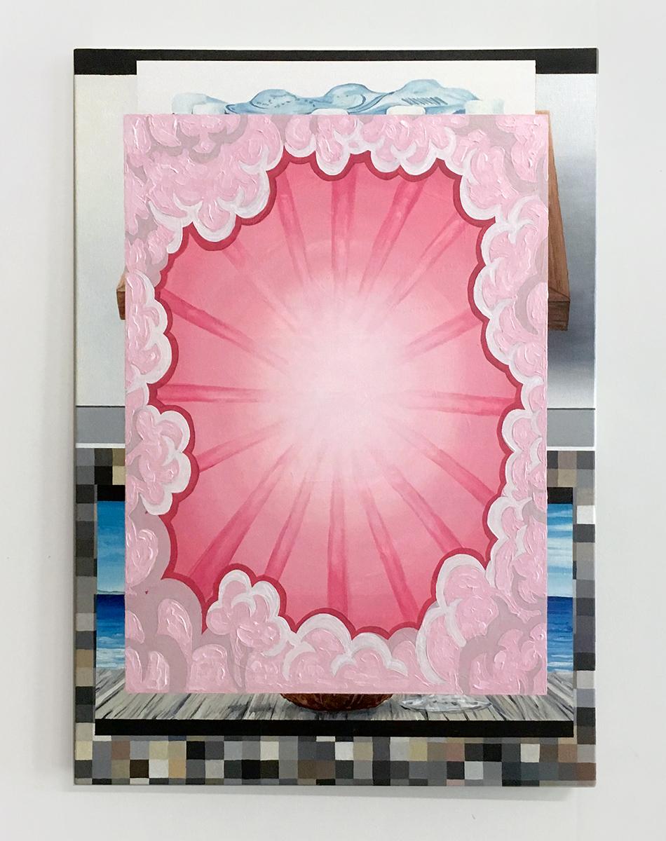 """Clip Art Waltz   oil and acrylic on canvas 21"""" x 30"""""""