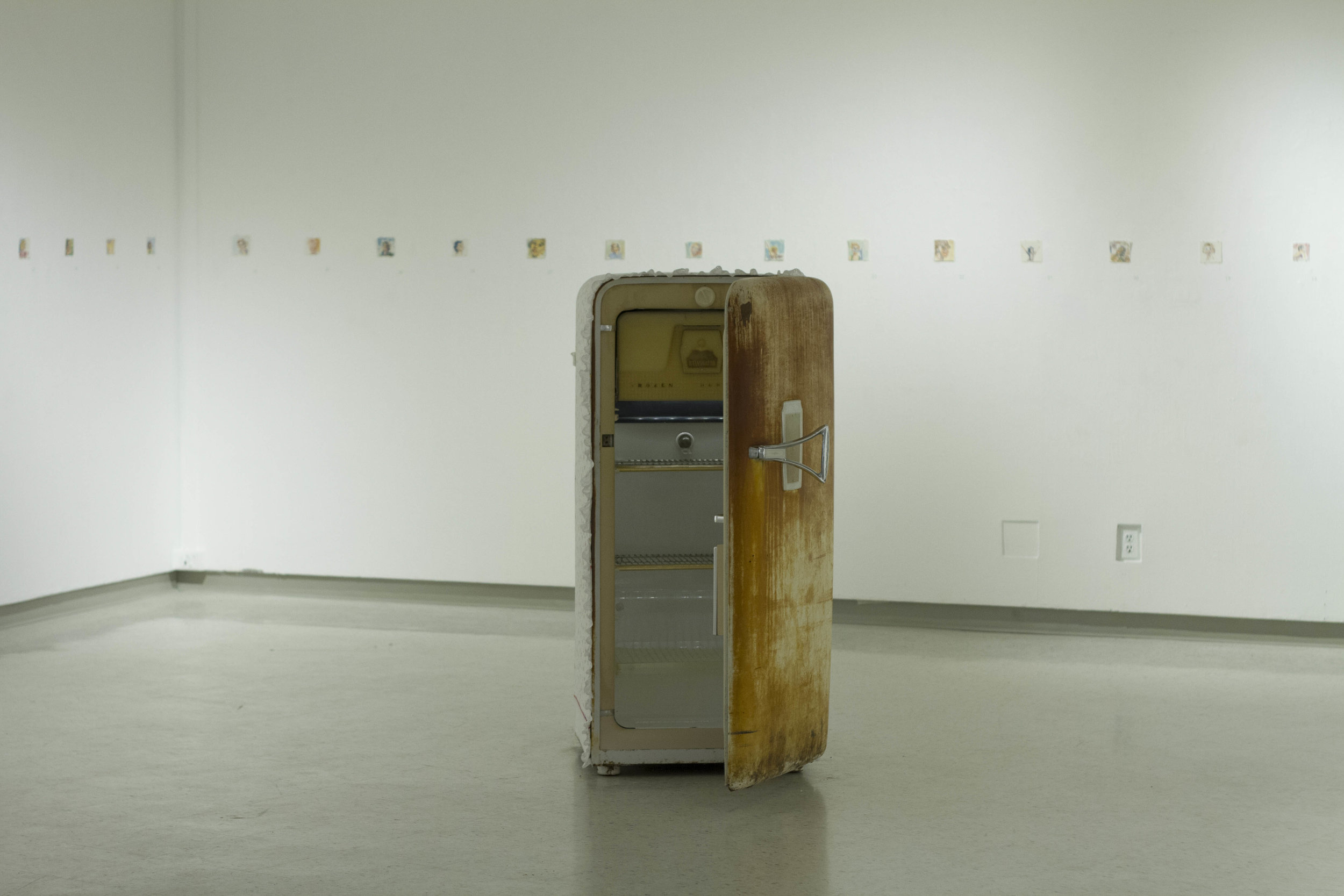 There's something I need to get off of my chest… - bed sheet, ruffle, Kelvinator Refrigerator, LED light, 3x5'Gordon Snelgrove Gallery, 2015