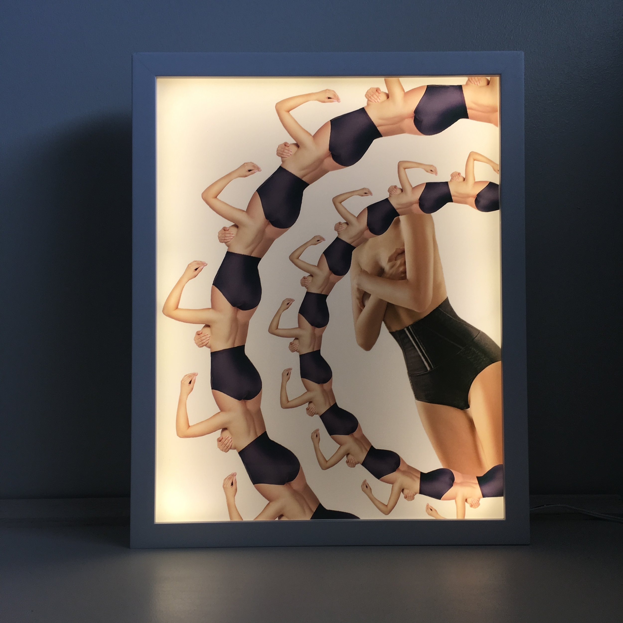 Shapewear (4) - digital collage light box, 12 x 5