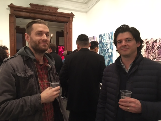 """Alex Scott, Board Member of the DGT Alumni Association, and Chase Hill, President of the DGT Foundation enjoy the final evening of """"When You Got It You Got It."""