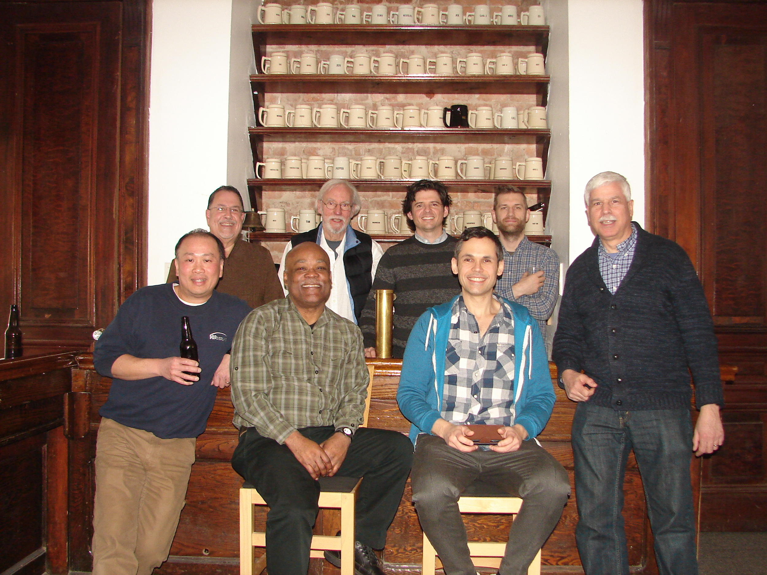 Pictured in the back row, starting from the left are Ramon Lacomba, Vern Ford, Chase Hill, Alex Scott. In the front row are Tom Wong, Gil Gerald, Jonathan Mark Levy, and Tom Fiorella.