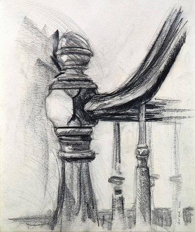 Newel Post at 272 Clinton Ave. Drawing by Alan Rand