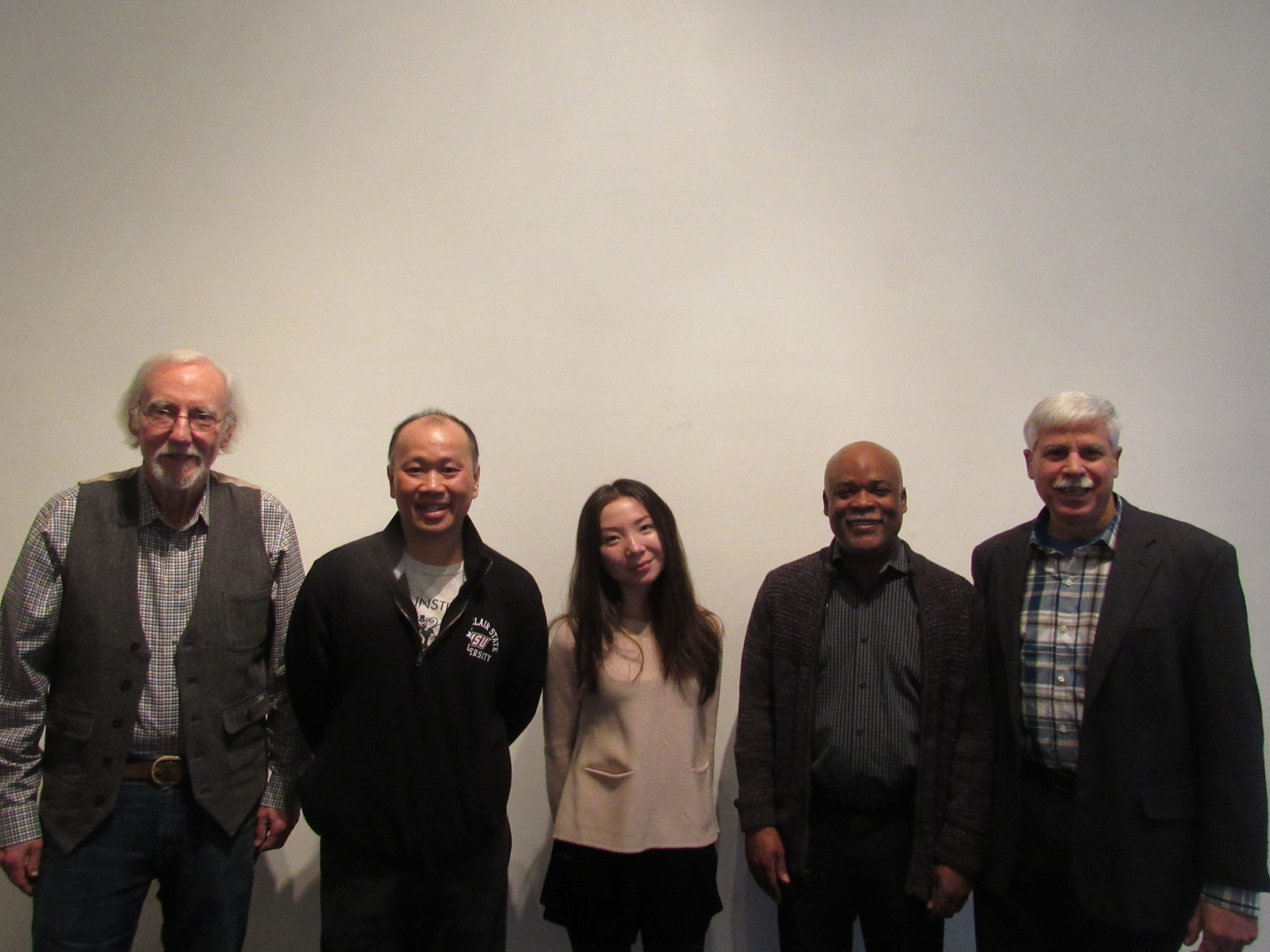 From Left to Right: Vern Ford (BFA '63), Sargent-at-Arms;Tom Wong (Engineering '84), Treasurer;Aika Mukhambetova (MPS-Design Management '15), Vice President; Gil Gerald (Architecture. '74), Secretary; and, Tom Fiorella (Industrial Engineering '74), President.