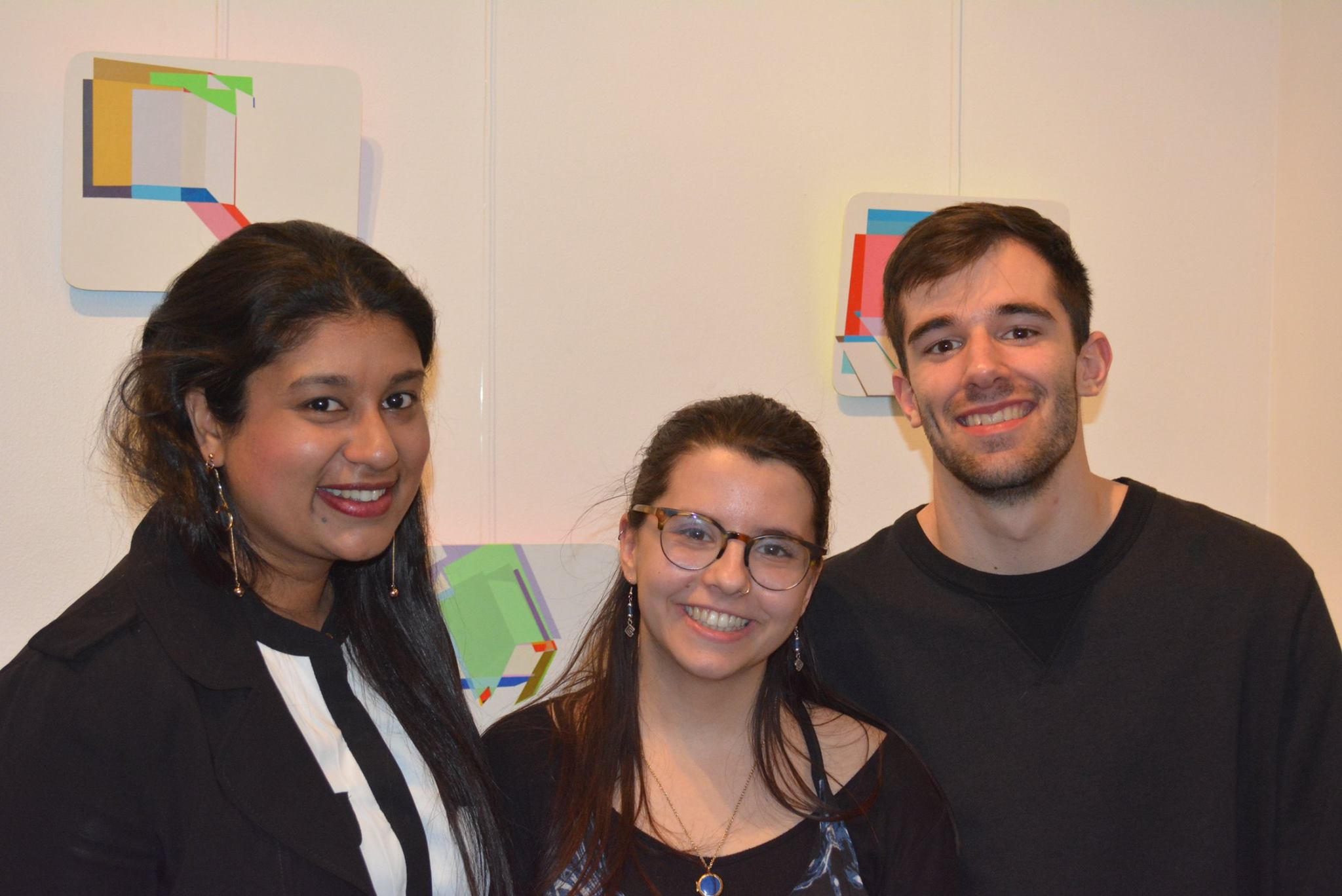 Rddhima Golyan, a Senior in Interior Design, Laura Arike, a Sophomore majoring in Art History, and Adam Colello, a Sophomore majoring in photography, represented an important change in the Gallery House Internship Program. Previously the program succeeded in mostly attracting graduate students.