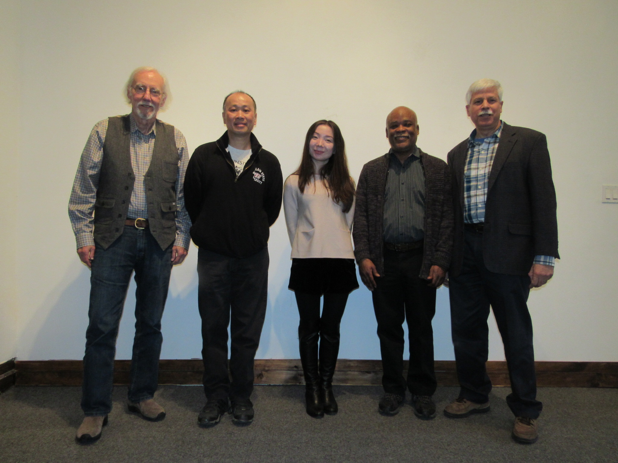 The cast for the 2018 Board, (L-R) Vern Ford, Tom Wong, Aika Mukhambetova, Gil Gerald, and Tom Wong, exits stage right