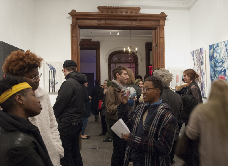 Photo of patrons attending the first Gallery House Reception and Exhibit, Fall 2015