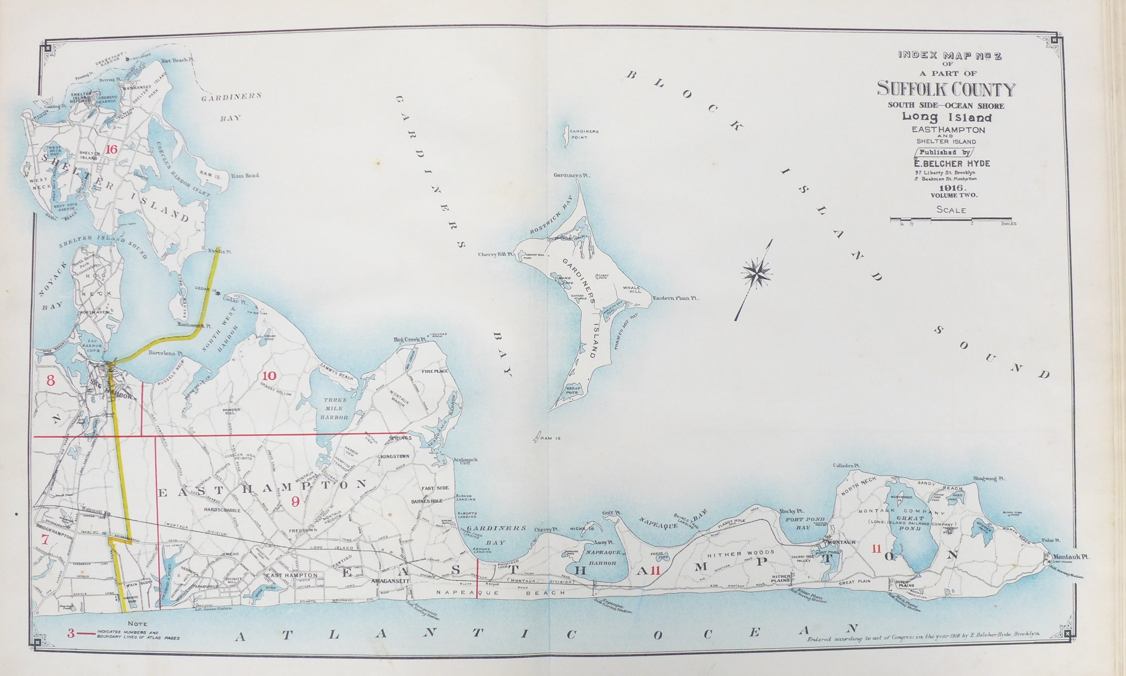 The East End of Long Island, from East Hampton to Montauk.The Beecher Map 1916.